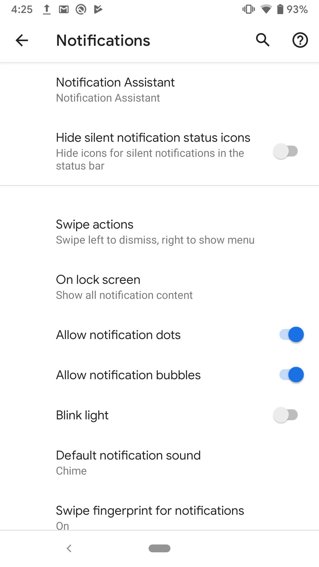 Android Q-meddelande bubbla och svepa åtgärder
