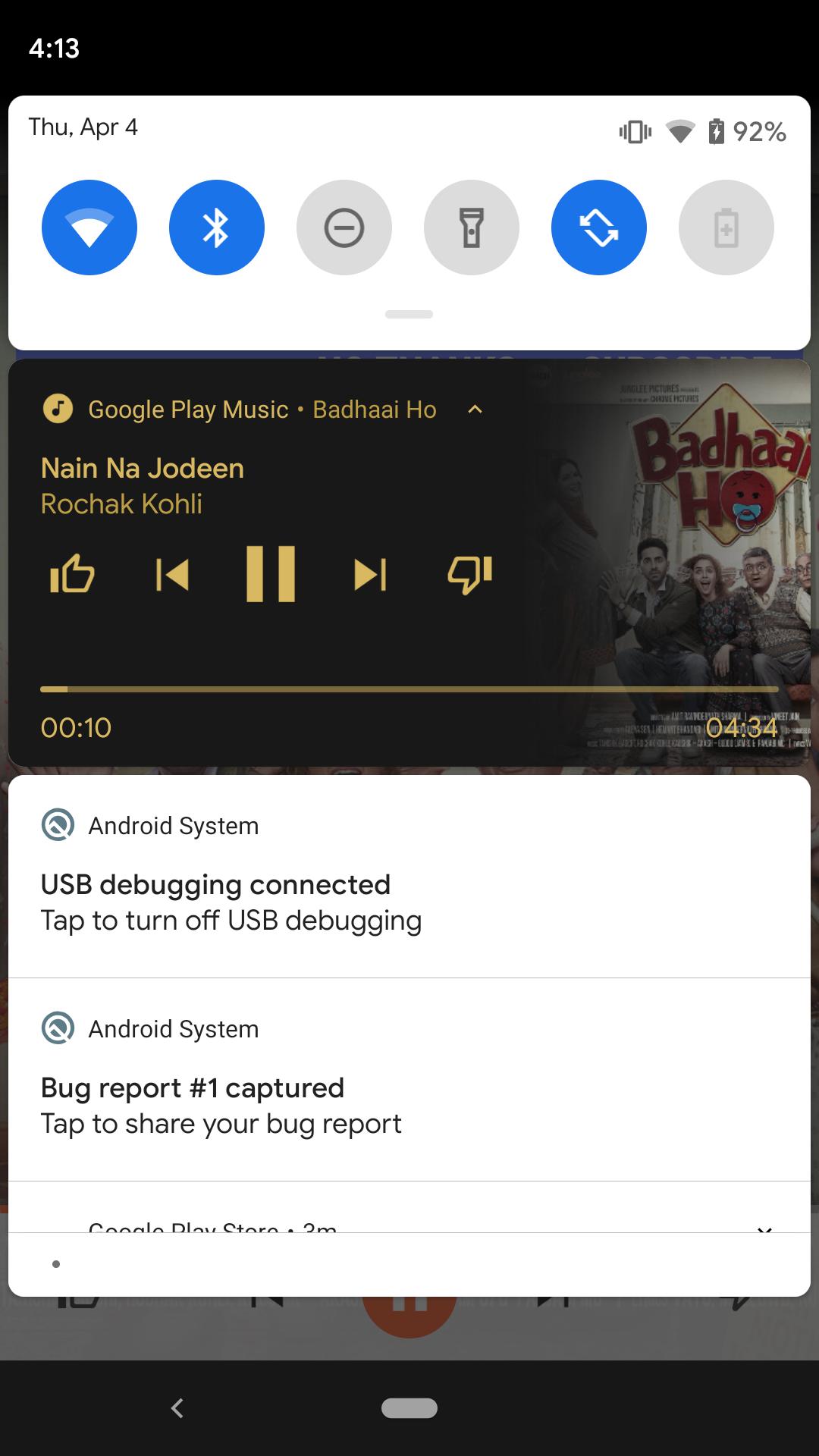 Android Q Beta 2 Meddelandesökfält