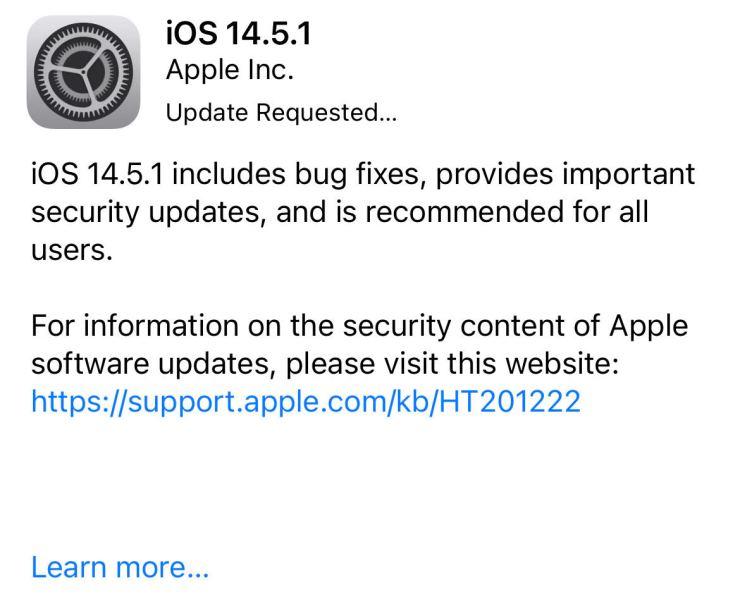 Installera iOS 14.5.1 för bättre säkerhet