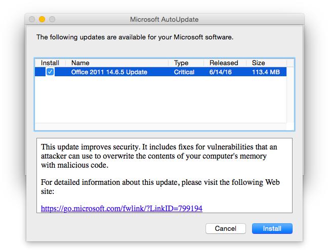 Office 2011 14.6.5-uppdatering