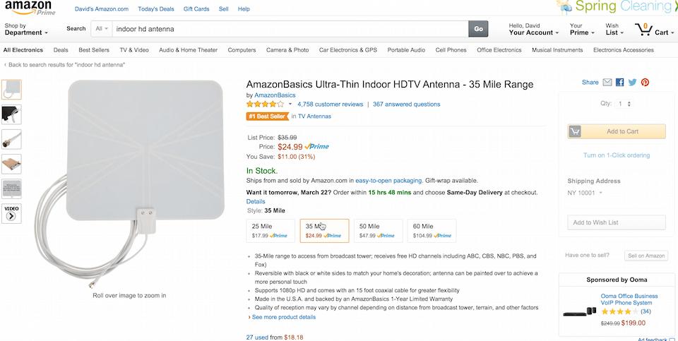Amazon inomhus HD-antenn
