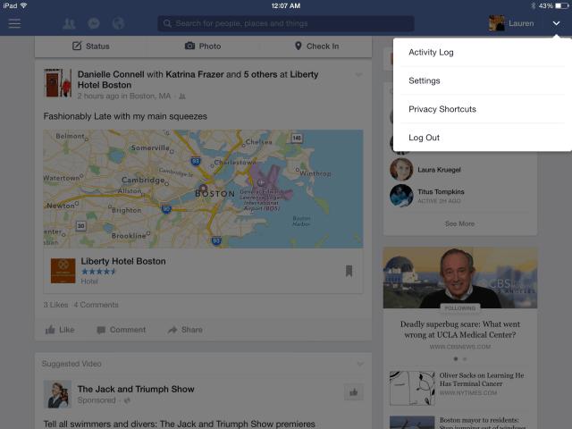 Dropdown på Facebook