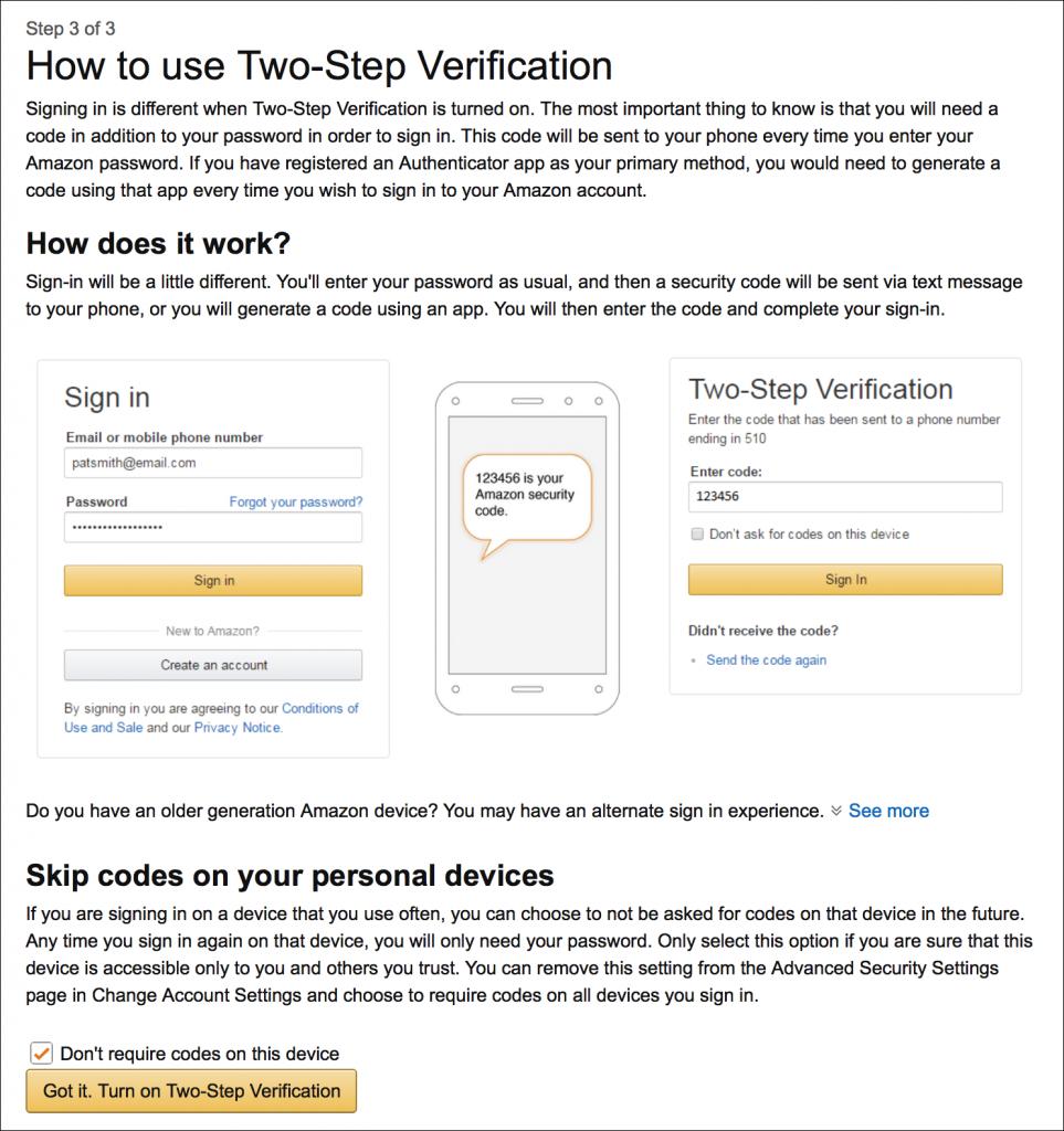 hur man använder Amazon tvåstegsverifiering