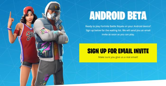 Registrera dig för Fortnite Android Beta