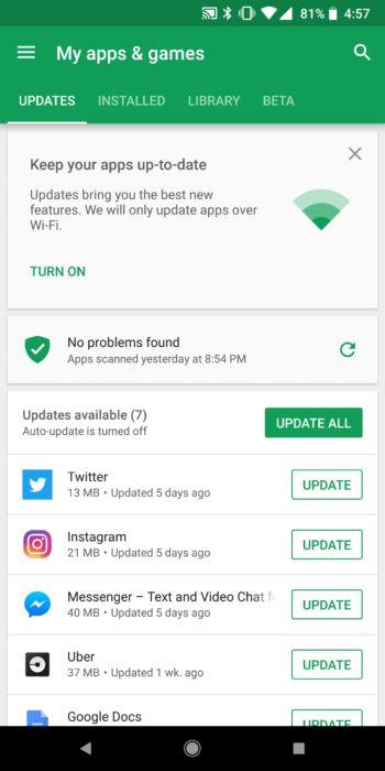 Google Play Butik - Uppdatera appar