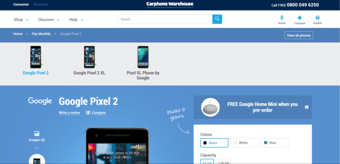 Google Pixel 2 Carphone UK