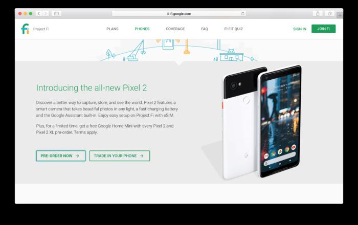 Köp Google Pixel 2 från Project Fi
