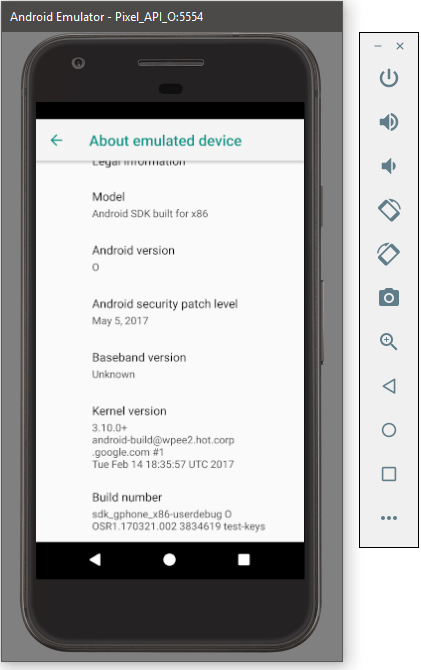 Android O på Android-emulator