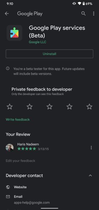 Uppdatera Google Play-tjänster