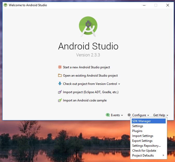 Android Studio - Konfigurera SDK Manager