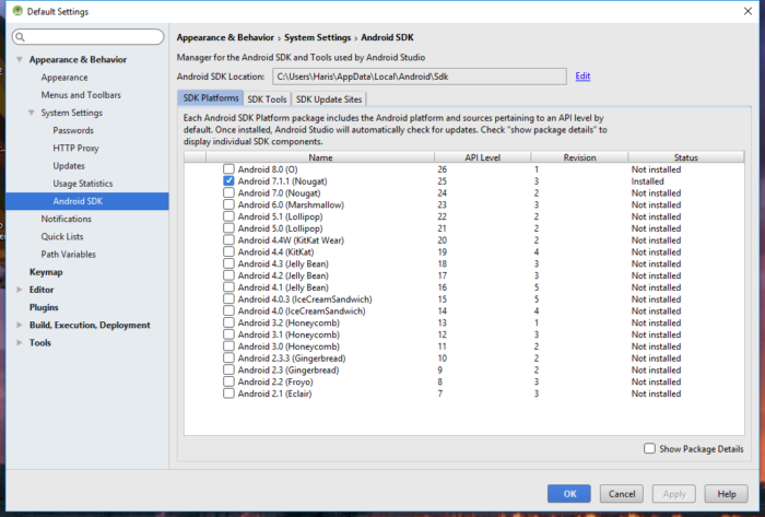 Android Studio - SDK Manager