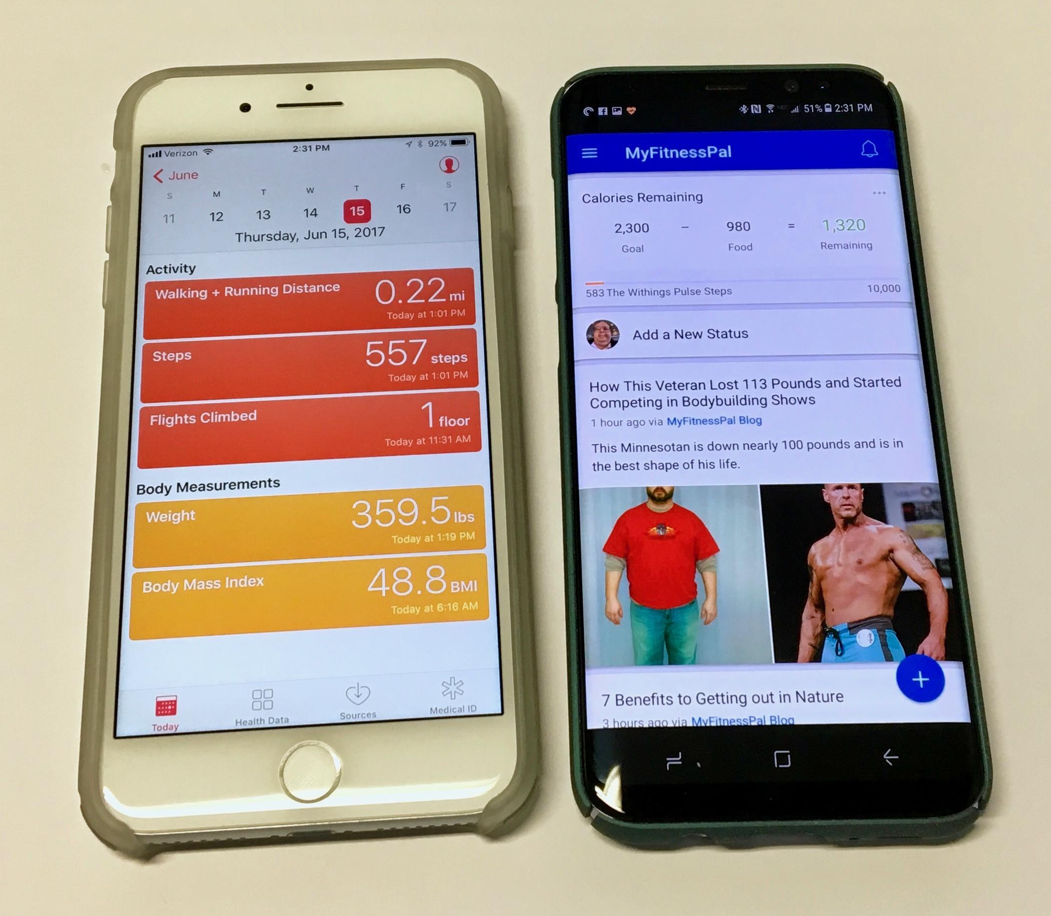 Apple iPhone och Samsung Galaxy S8