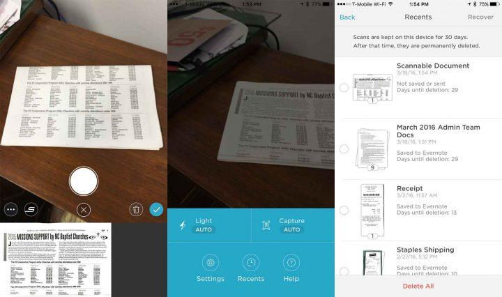 evernote-skannbara appar för iPhone-skannrar