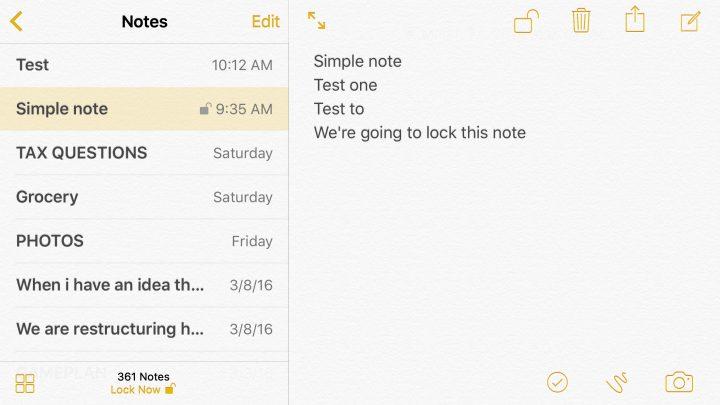 Välj att låsa anteckningar på iPhone eller iPad eller lämna olåst.
