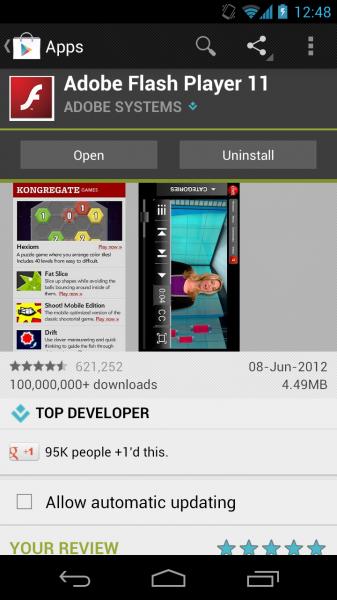 Installera Flash Player på Nexus 5 med Android 4.4 KitKat 10