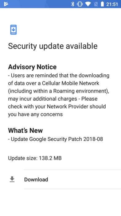 Hämta Nokia 5 augusti 2018 OTA-systemuppdatering
