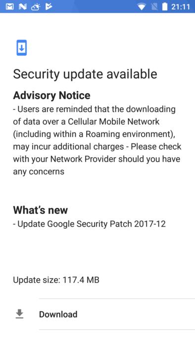 Nokia 6 december 2017 OTA-uppdatering