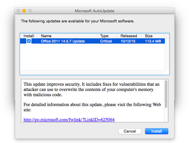 Uppdatering av Microsoft Office för Mac 14.5.7