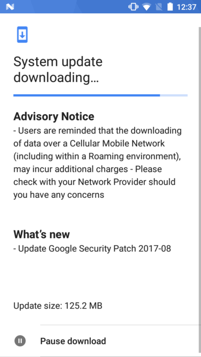 Nokia 5 augusti 2017 OTA-uppdatering