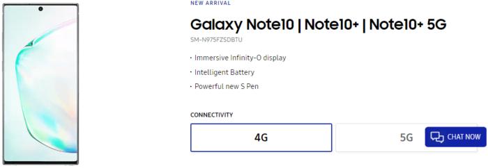 Samsung Galaxy Note 10, Storbritannien