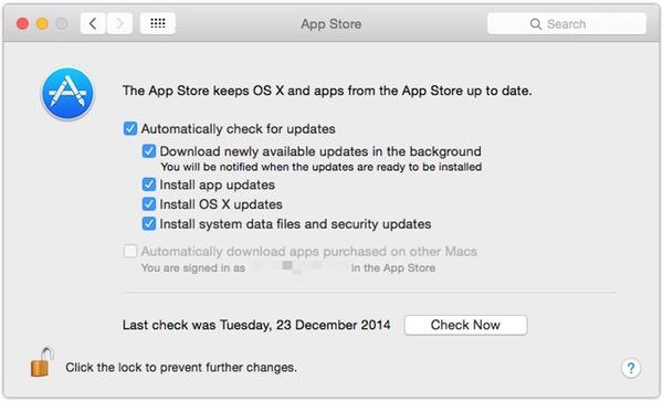 App Store-inställningsfönster