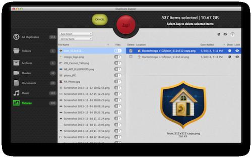 Duplicera Zapper ger dig flera sätt att automatiskt välja dubbletter vilket gör det lättare att zappa flera filer.