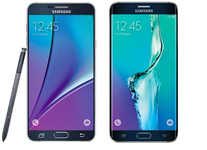 Galaxy Note 5 (vänster) och Galaxy S6 Edge + (höger)