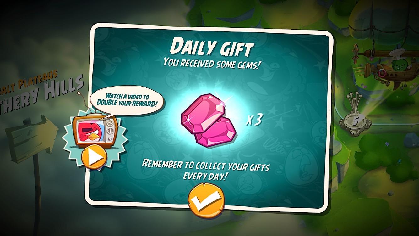 Ta gratis ädelstenar som en del av Angry Birds 2 dagliga gåvor.