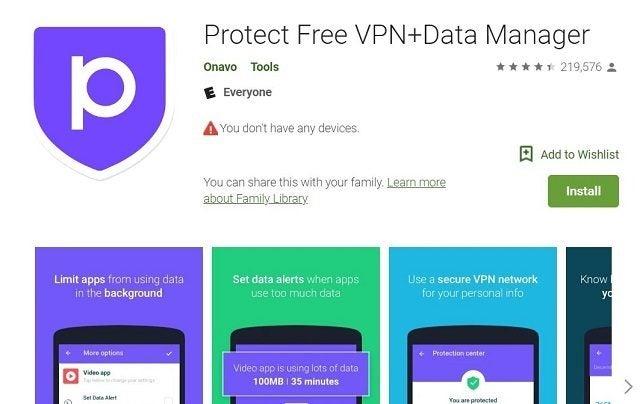 Onavo Protect VPN-appen på Google Play