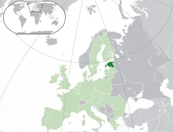 Karta över Europa med Estland medium