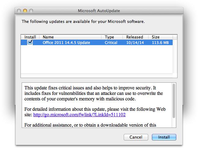 Uppdatering av Microsoft Office för Mac 2011 14.4.5