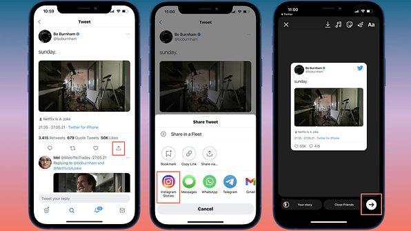 Dela enkelt tweets på Instagram, utan att ta en skärmdump