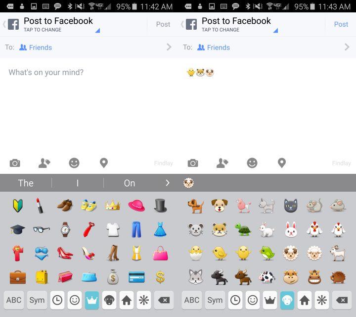 Tryck för att ändra vilken Galaxy S6-emoji du kan använda.