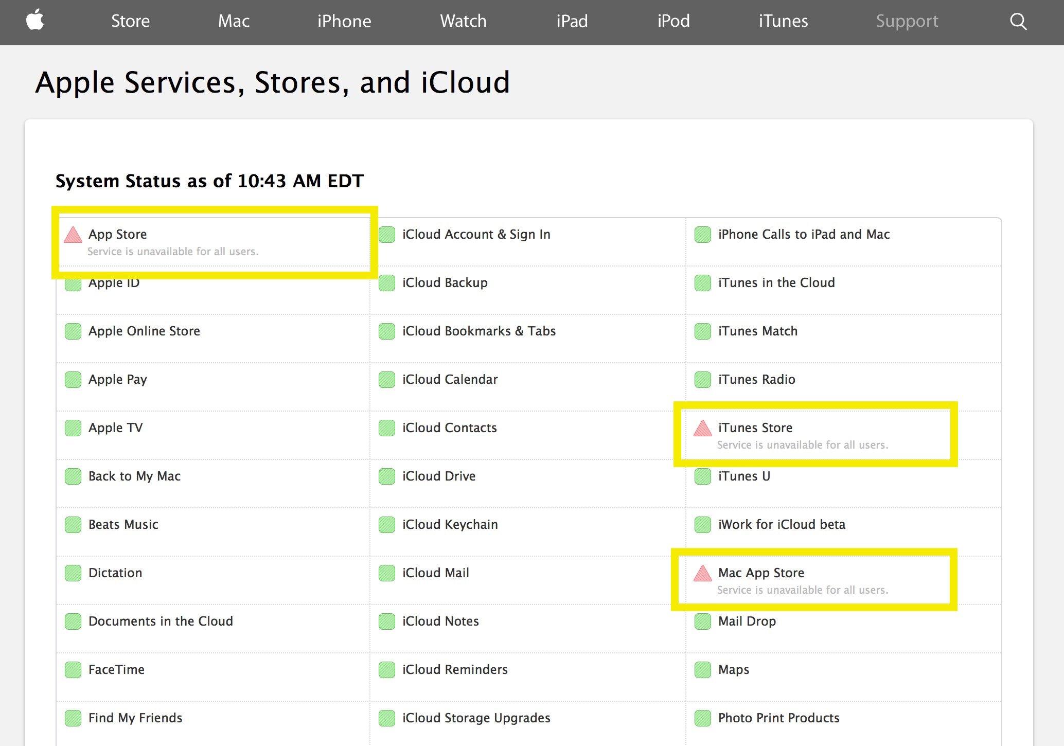 Apple App Store och iTunes lagrar ner