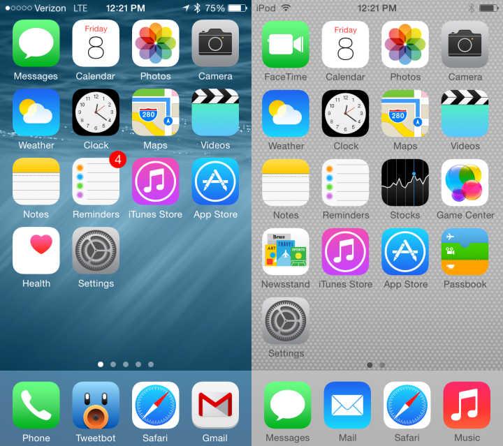 iOS 8 vs iOS 7 Walkthrough - Startskärm