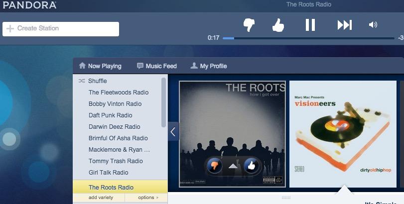 Välj stationalternativ för att se Pandora tummen ner historia.