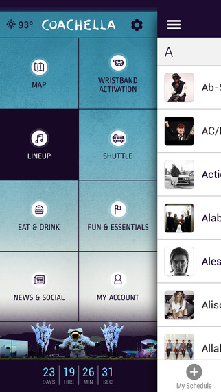Den officiella Coachella-appen levereras med inställda tider och en karta.