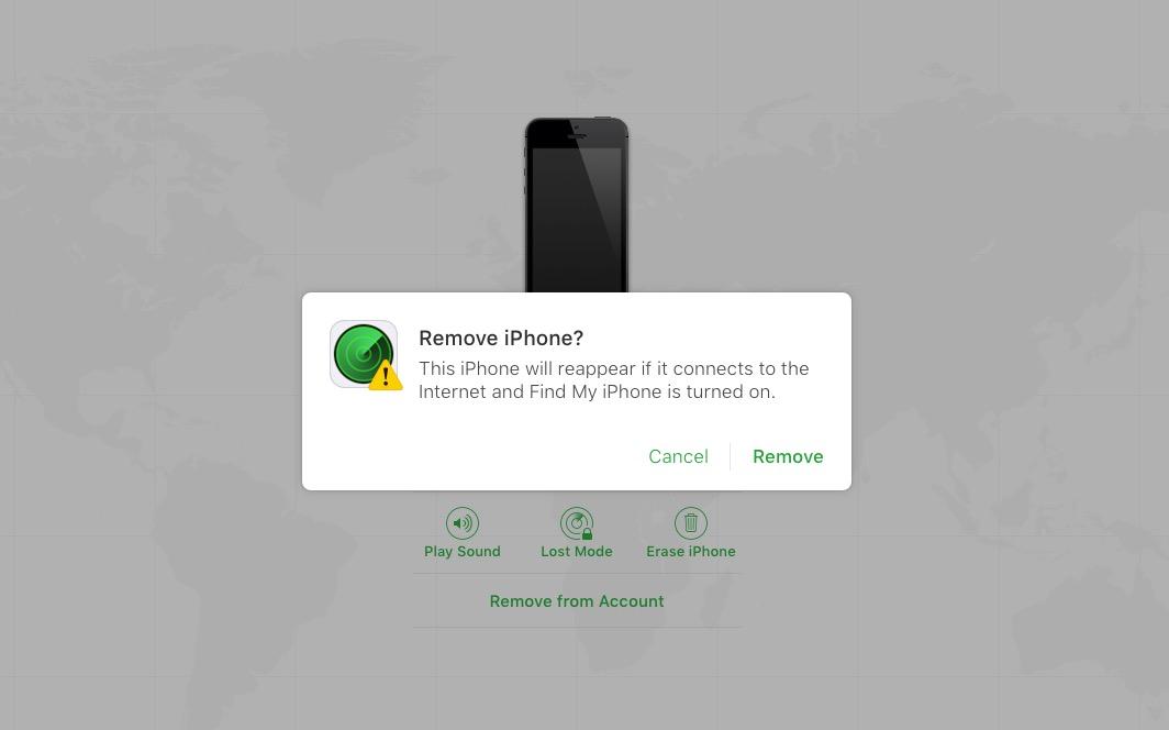 Bekräfta att du vill ta bort Find My iPhone från din dator.