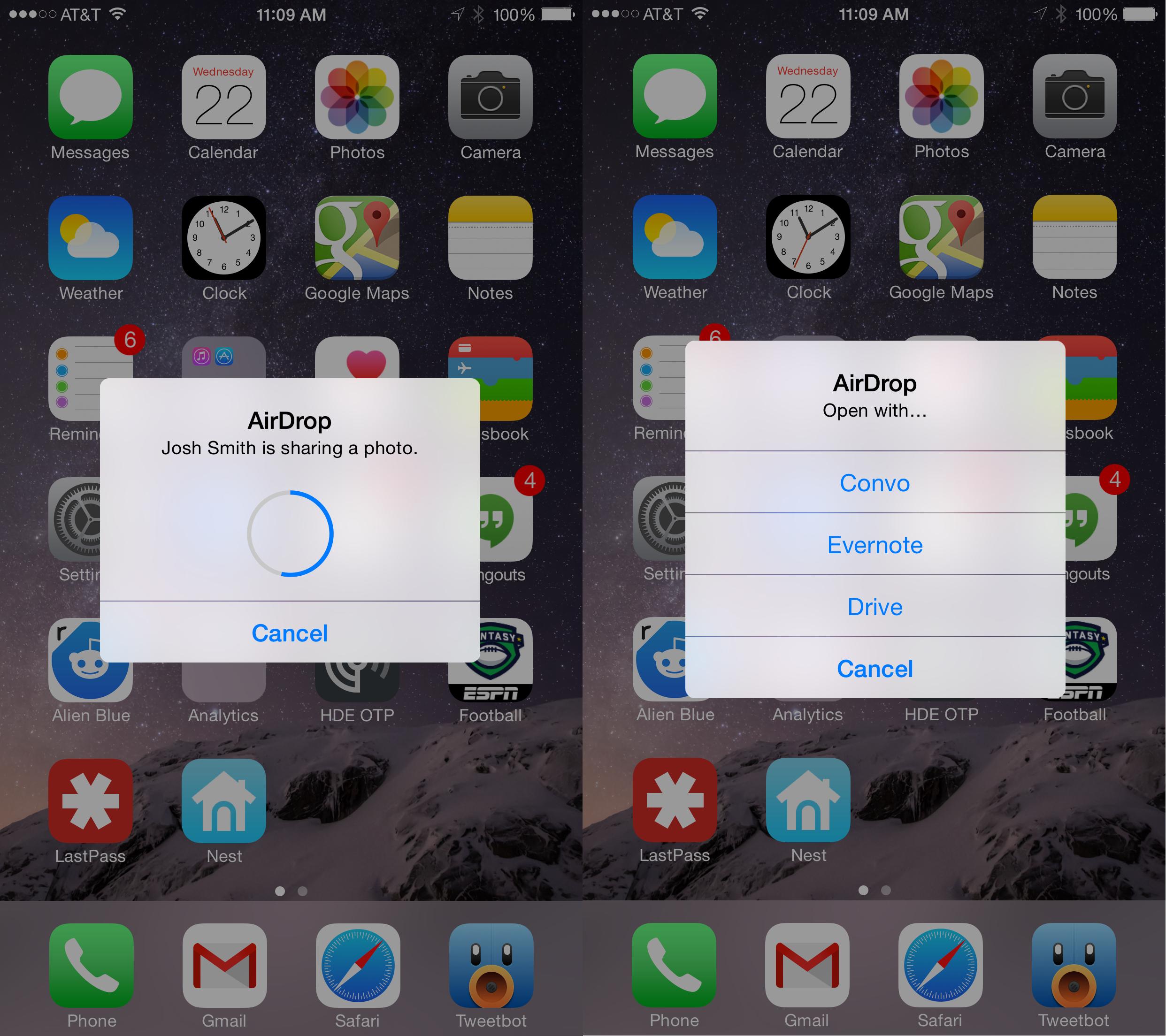 Använd AirDrop från Mac till iPhone eller iPad med OS X Yosemite.