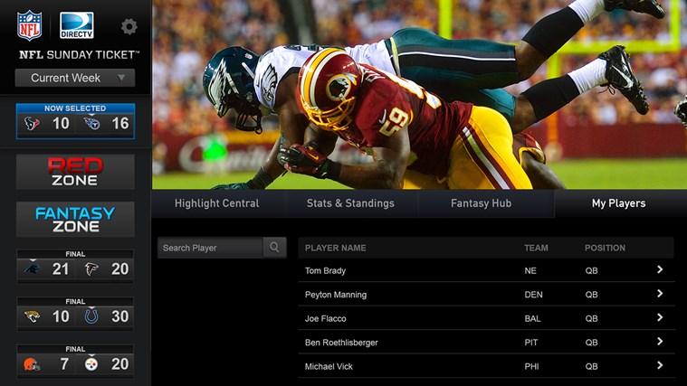 NFL söndagsbiljett skärmdump