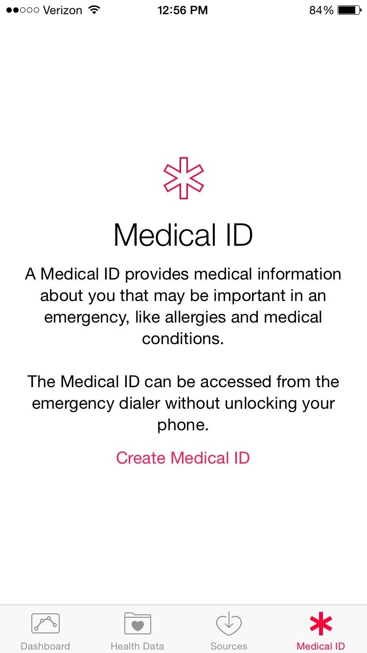 iOS 8 hälso-medicinska ID