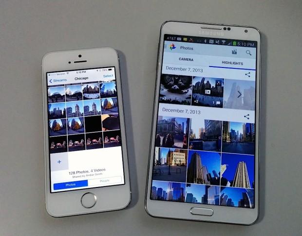 IPhone 5s som visas bredvid en Galaxy Note 3 ger perspektiv på hur en 5,5-tums iPhone 6 kan se ut.
