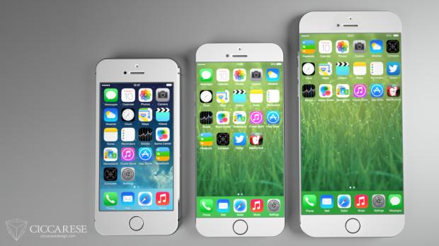Koncept för iPhone 6 som visar hur större skärmar kan se ut.