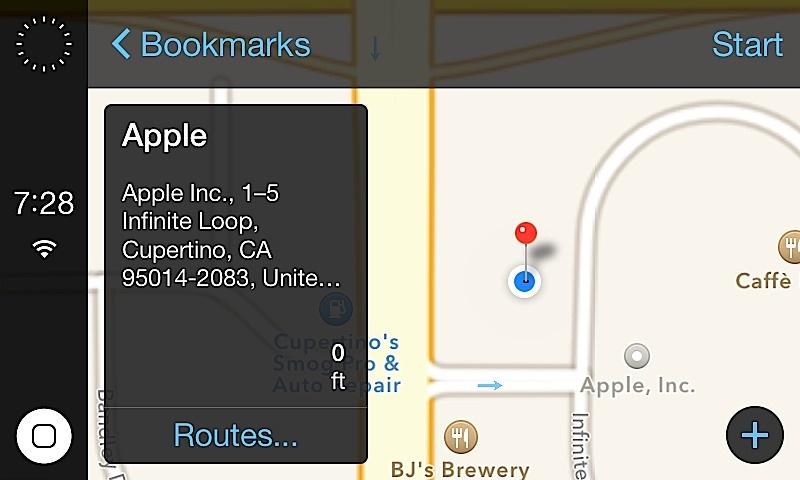 Välj och välj en destination med hjälp av Apple Maps på iOS i bilsystemet med bilens pekskärm.