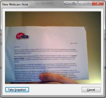 evernote webcam note capture
