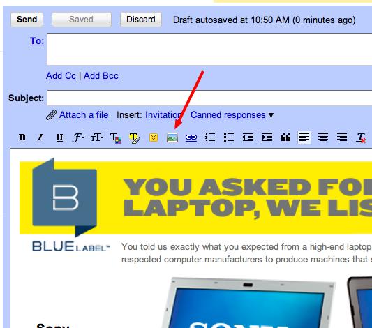Hur man sätter in bilder i gmail