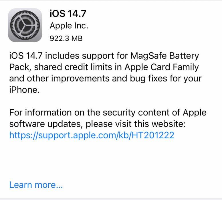 Installera iOS 14.7.1 för bättre säkerhet