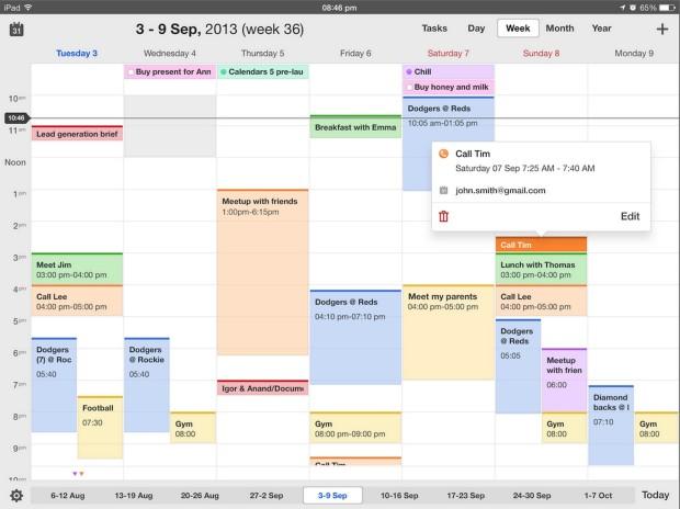 kalendrar 5 av readdle på ipad