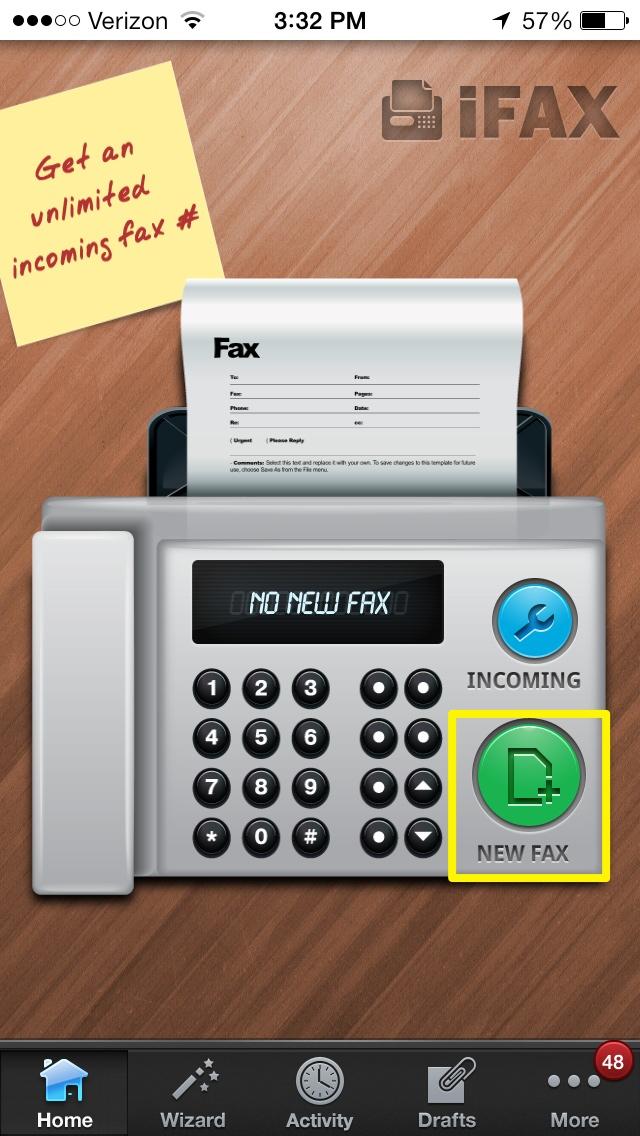 Tryck på Nytt fax