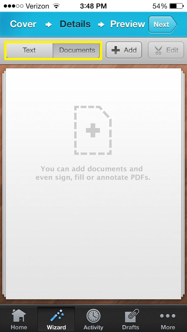 Lägg till dokument eller text